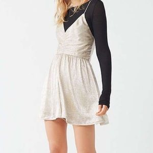 Urban Outfitters UO Danielle Metallic Cinch Romper